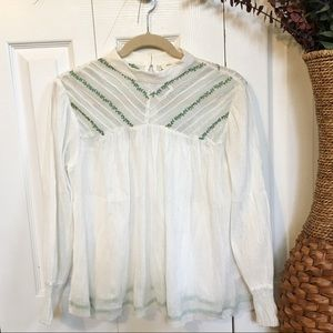 Urban Outfitters Dainty Vintage Embroidered Blouse